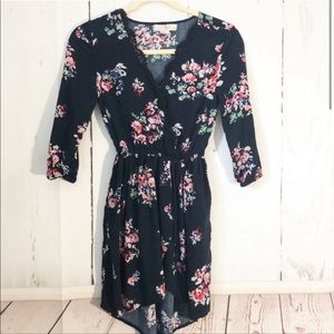 Navy Floral Faux Wrap Dress Scalloped V-Neck